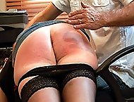 Tearful secretary spanked and caned on her big bare ass in the office.