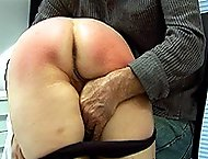 Brutal leg spread caning for blonde in pain - large ripe ass covered in stripes
