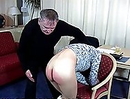 Pretty Asian girl spanked on her bare bottom by older guy