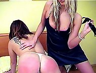 Naked babe on the bed - severe strapping with leather tawse - hot burning buttocks