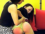 Naked and shameful caning on the sofa for pretty teen in tears