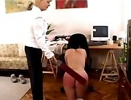 Naked beauty gets severely welted on her stunning ass - burning quivering cheeks