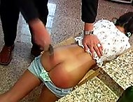 Strapped on her pert little bottom in the kitchen - swollen bruised buttocks