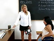 Hot blond older teacher paddles her students ass hard and long!