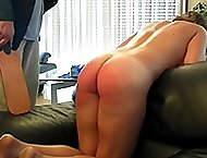 Hot horny and naked miss gets a brutal paddling on her big wobbly ass