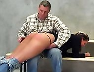 Watch naughty Jane get what she deserves in this hot ass spanking film.  The taskmaster pulls her across his lap and begins the spanking session.  He