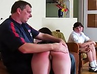 Xenia and Lolita are caught cheating on their geography exam and receive a proper spanking. The headmaster takes turns giving both Xenia and Lolita a