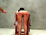 Hot German girl gets caned so hard the skin breaks