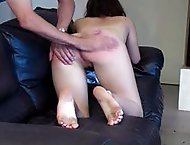 Naked girl pulled over the knee for a long hard spanking